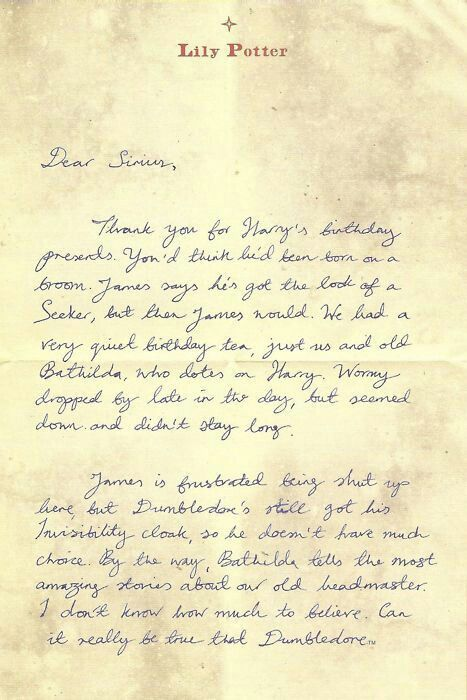Lily 39 s letter to sirius harry potter pinterest - Rone harry potter ...