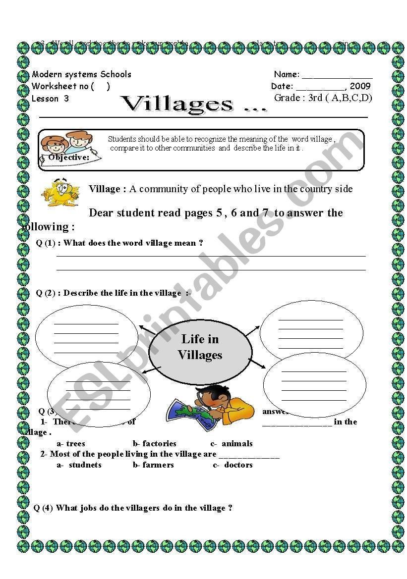 hight resolution of Social Studies Worksheets Grade 6 English Worksheets Vilages social Stu S   Social  studies worksheets