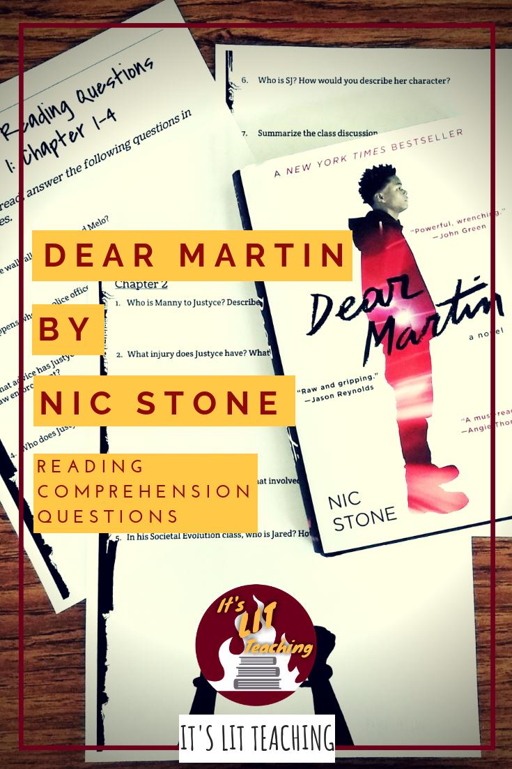 Dear Martin Reading Comprehension Questions | Secondary ELA