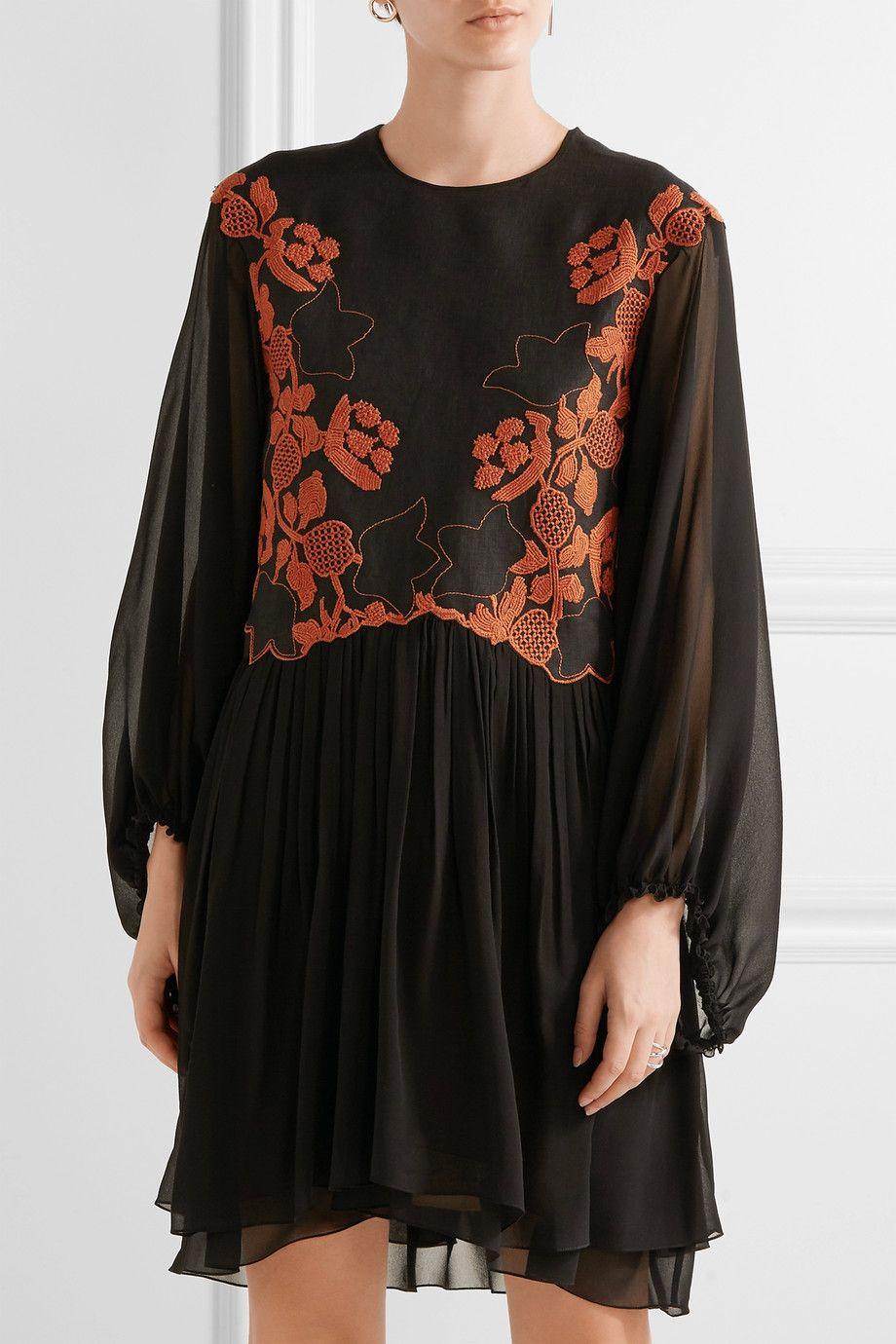 Chloé embroidered linen and silkchiffon mini dress netaporter
