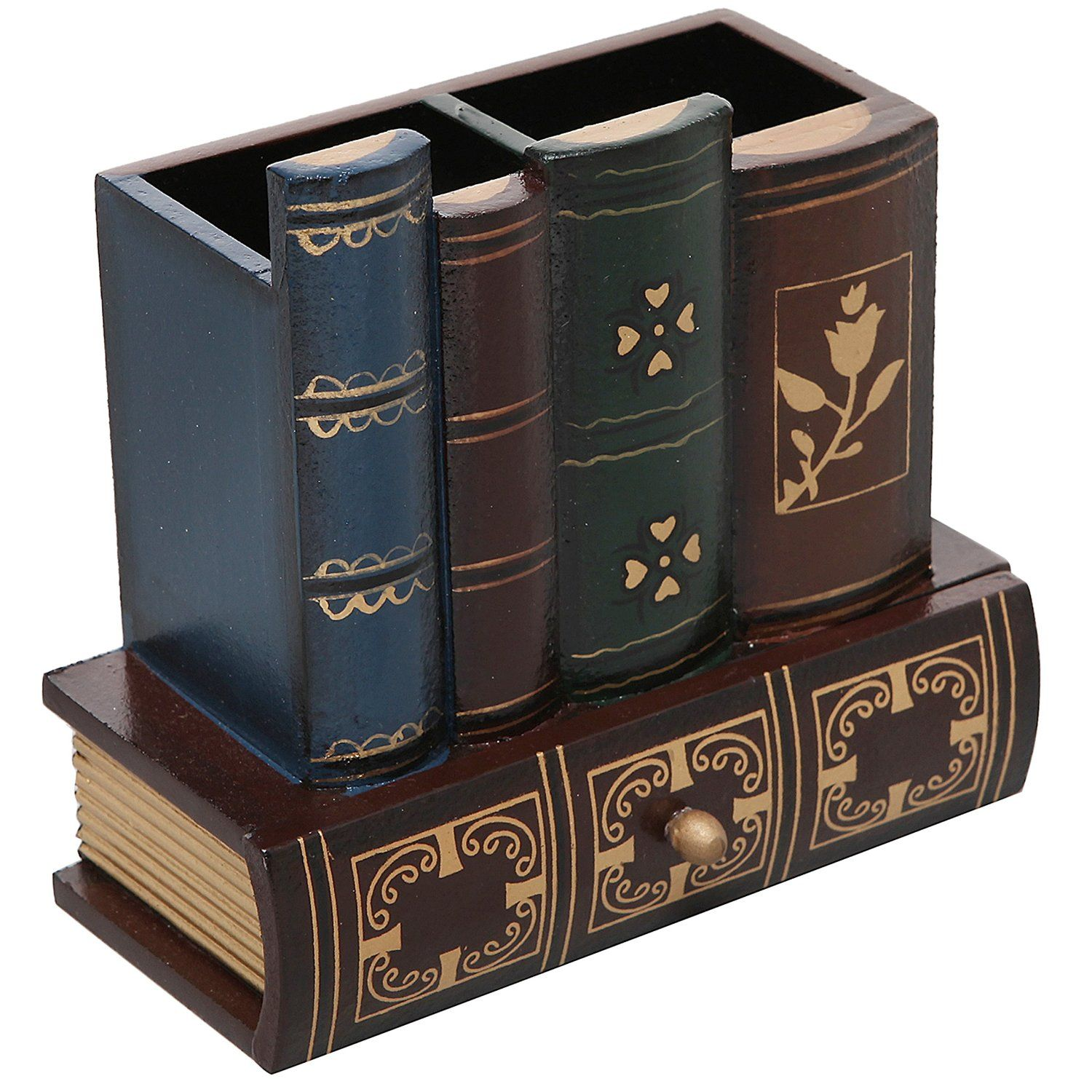 decorative office supplies. Amazon.com : Decorative Library Books Design Wooden Office Supply Caddy Pencil Holder Organizer With Bottom Drawer Products Supplies