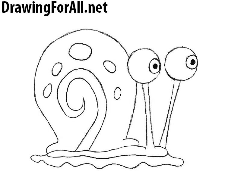 How To Draw Gary The Snail From Spongebob With Images