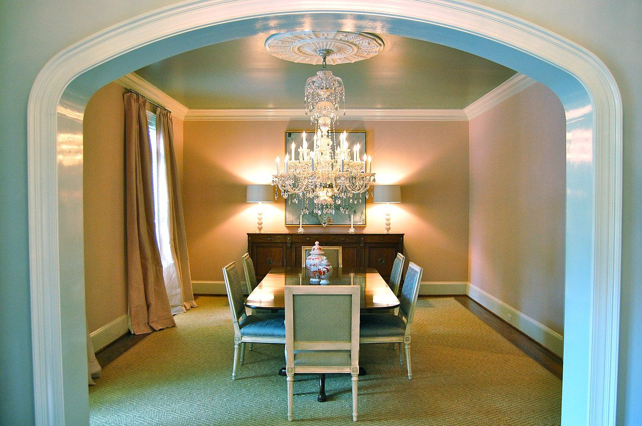 Katherine connell interior design pink dining room - Archway designs for interior walls ...