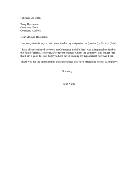 This Printable Resignation Letter Alludes To Negative Changes In The Company That Cause The Employee S Departure Fre Resignation Letter Job Letter Resignation