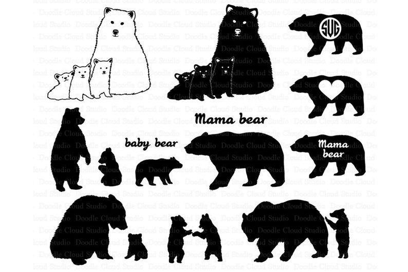 Bear Svg Bear Family Svg Bears Svg Files For Silhouette Etsy Bear Clipart Bear Tattoos Bear Stencil