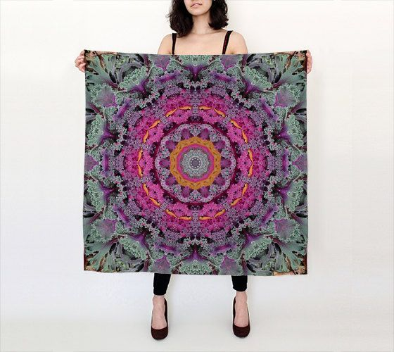 Kale botanical mandala silk scarf,  rose, lavender, silver, green, all occasion gift, vegetable art, square scarf, long scarf by RVJamesDesigns on Etsy