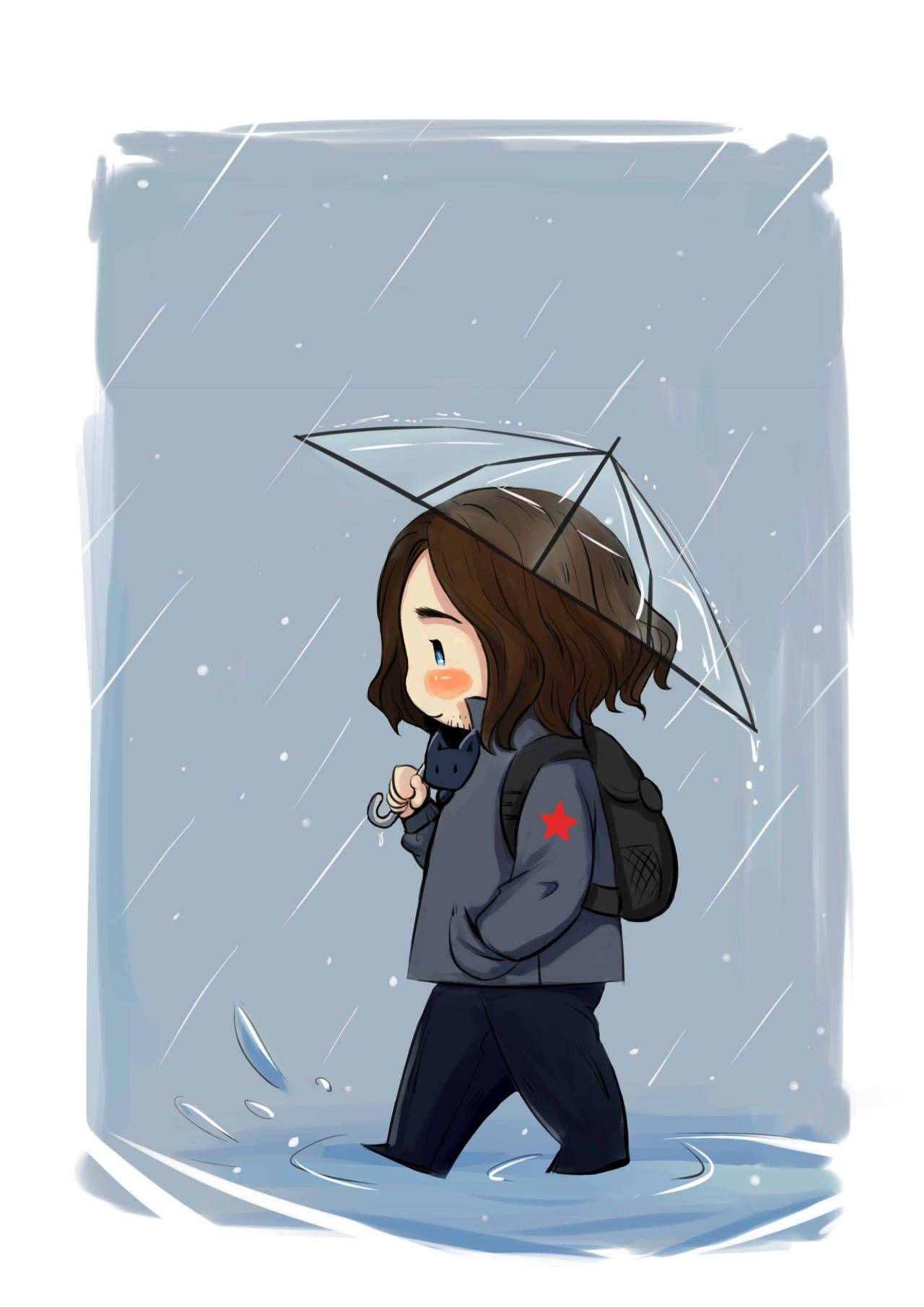 HELLO — rainy day umbrella a happy bucky | Heroes | Bucky barnes