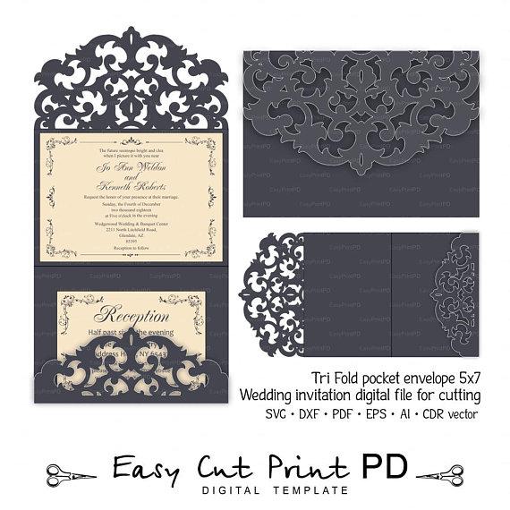 Tri Fold Pocket Envelope 5x7 Invitation Wedding Card Template Svg Dxf Cdr Studio Digi Cricut Invitations Cricut Wedding Invitations Wedding Card Templates