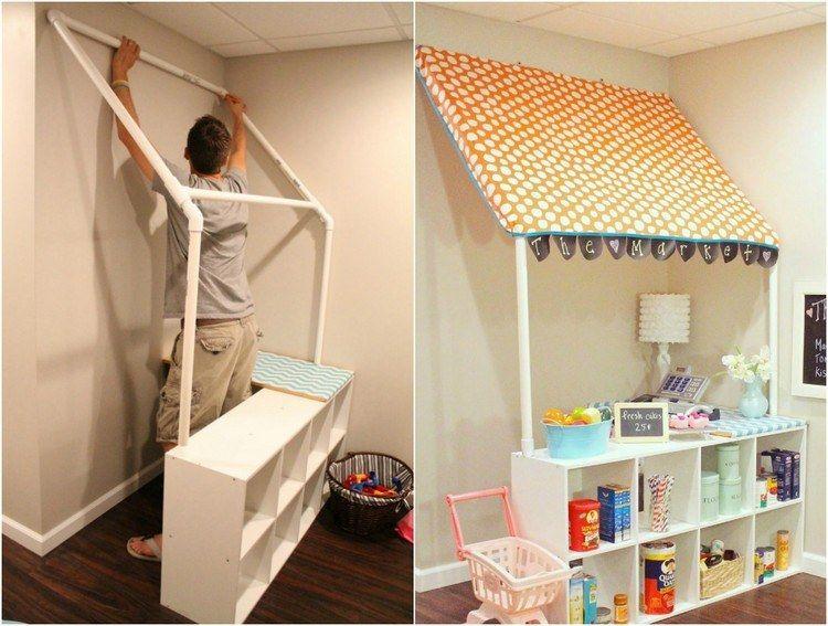 markise f r den kinder kaufladen aus pvc rohren bauen diy geschenke wohnung kids rooms. Black Bedroom Furniture Sets. Home Design Ideas
