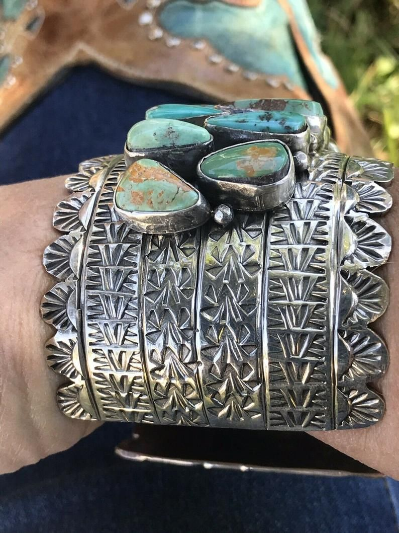 Photo of Incredible Royston Turquoise And Sterling Silver Cuff Bracelet Signed