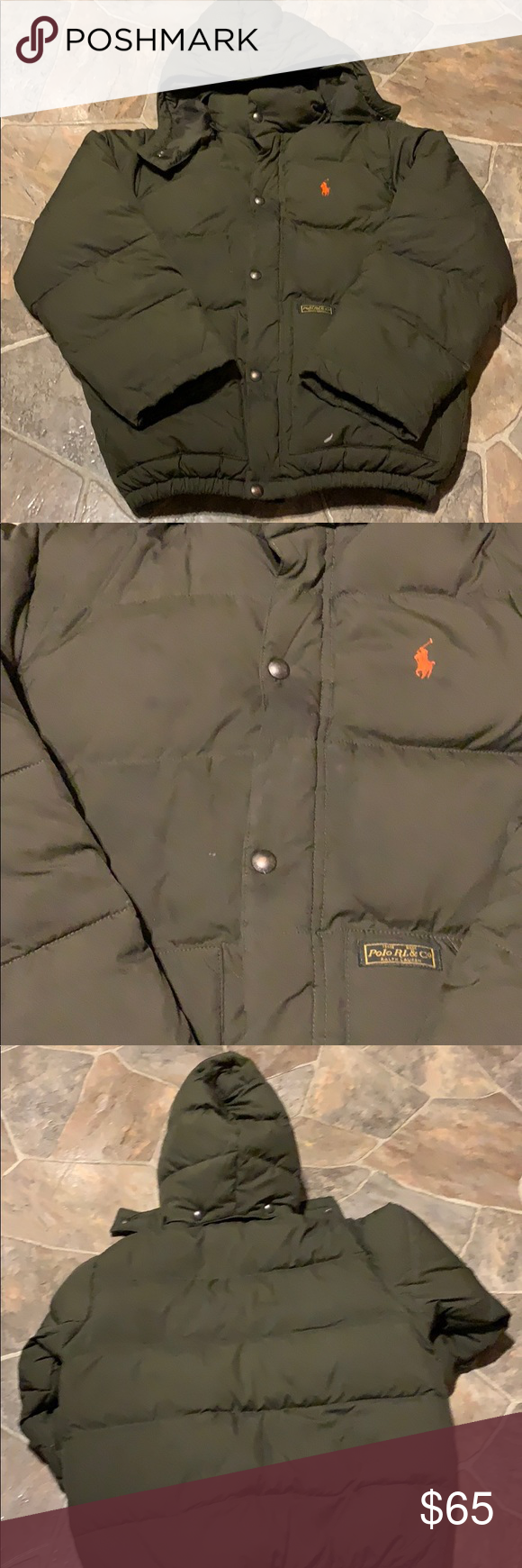 4163baffb Ralph Lauren winter coat... Olive green puffer coat with orange horse....size  10/12. Still in excellent condition. I will wash before shipping Ralph  Lauren ...