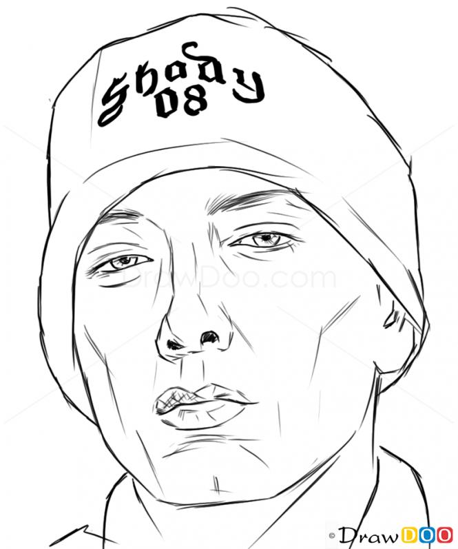How To Draw Eminem Celebrities Eminem Drawing Eminem Rapper Art