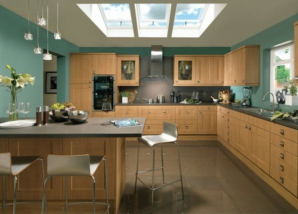 Kitchen Paint Ideas Contrast Wall Colors Wood Cabinets Brown Floor Tiles