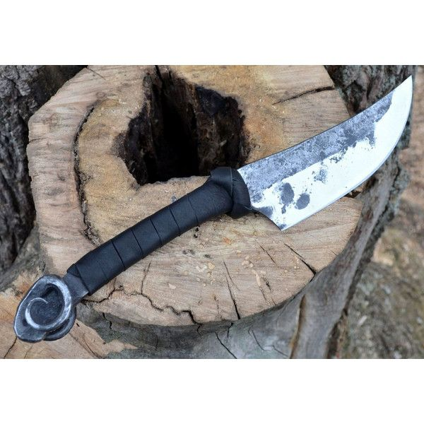 Hand Forged Celtic Knife With Ram Head Ram's Heads Animal Black... (£55) ❤ liked on Polyvore featuring home, kitchen & dining, cutlery, cookware, cutlery & knives, grey, home & living and black cutlery