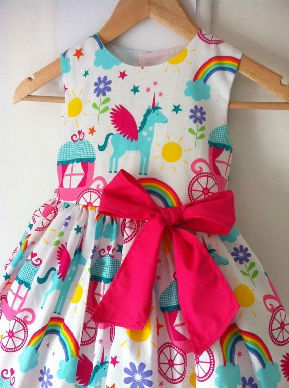 027491412 unicorn dress, unicorn dresses, girls party dress, rainbows, kids clothes,  unicorns, rainbow, special occassion, summer, princess, fairytale