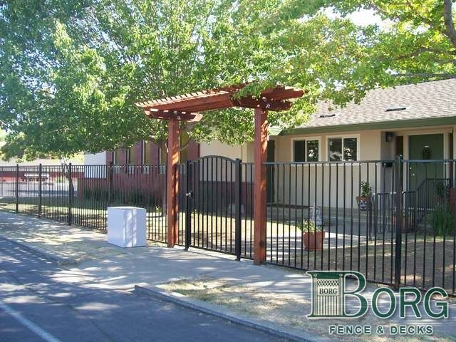 Arbor Designs | Wrought Iron Fence And Gate With Arbor At Borg Fence And  Decks Of