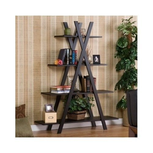 Ladder Bookcase Bookshelf Storage Display Shelf Decoration Rack Modern Table  #Modern