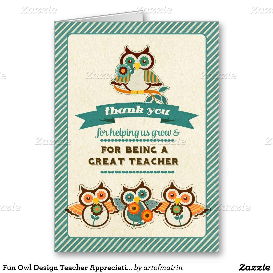 Fun Owl Design Teacher Appreciation Week Cards Appreciation And