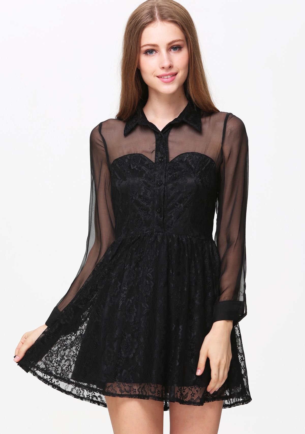 Black sheer mesh yoke long sleeve embroidered dress dreamy