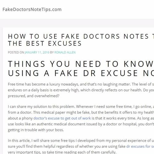 https://fakedoctorsnotetips.com/ A fake doctor's note can be a ...