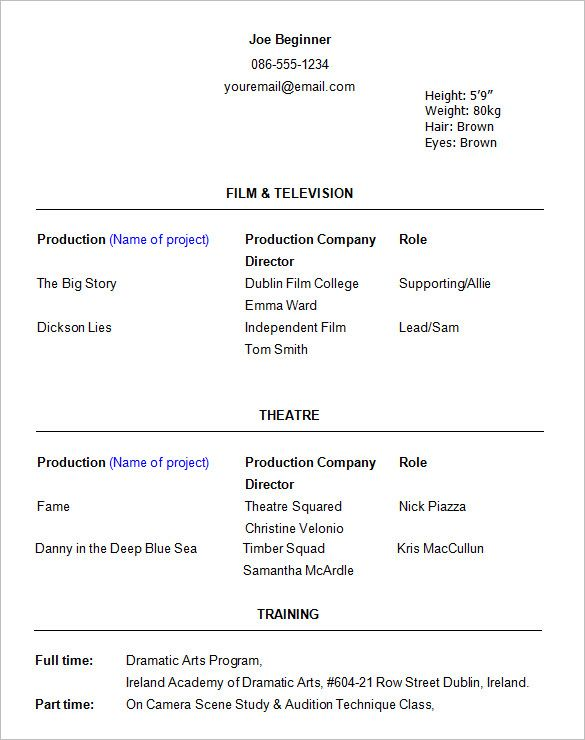 Actor Acting Resume Acting Resume Template Resume Examples