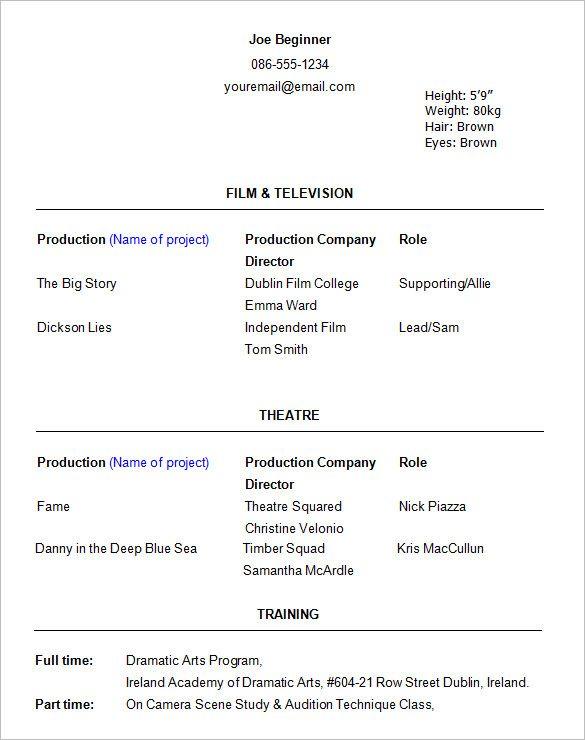 Resume Format Actor Actor Format Resume Resumeformat Acting Resume Template Acting Resume Resume Template Word