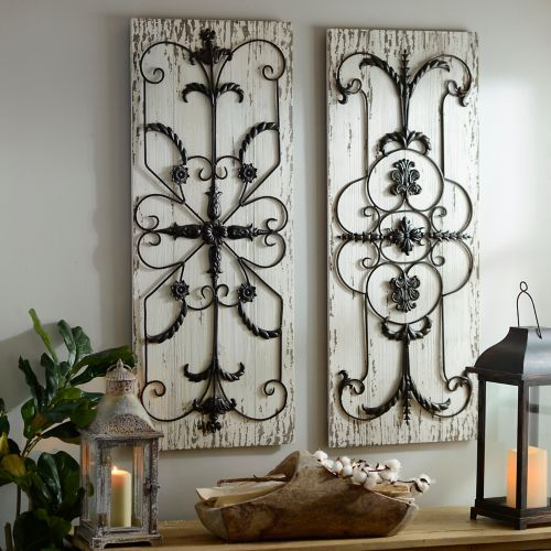 Adelaide Distressed White Wooden Plaque Set Of 2 Iron Wall