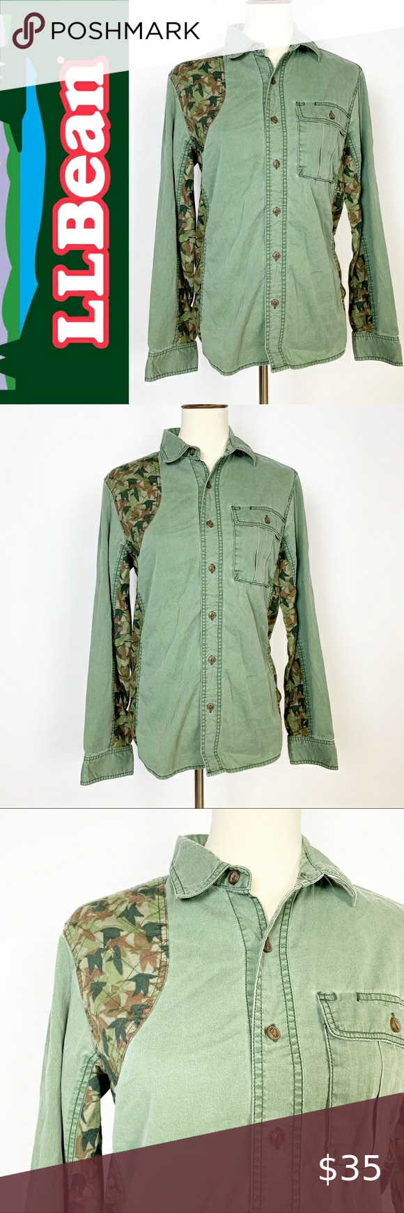 """LL BEAN Camo Accented Green Button Up SM Measurements Approximate Laying Flat-   ▫️Length: 26""""  ▫️Pit to Pit: 18""""  ▫️Size: Small  ▫️Condition: Excellent Preowned Condition   ▫️Materials: see photos  ▫️Color: greens  brown   ▫️Style: button up  ◻️Inventory #0707  FAST SHIPPING / SMOKE FREE HOME L.L. Bean Tops Button Down Shirts"""