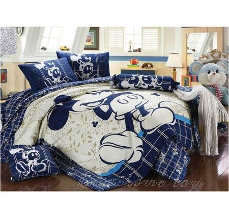 Queen Size Deep Blue Mickey Mouse Bedding Mickey Mouse Bedding Bedding Sets Mickey Mouse Bed Set