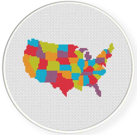 Colorful Usa Map Cross Stitch Pattern Cross Stitch Designs
