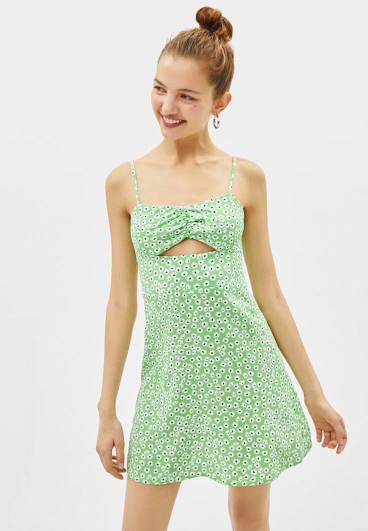 Abito corto Bershka DRESS abito estivo verde Zalando.it # acconciature uomo # …