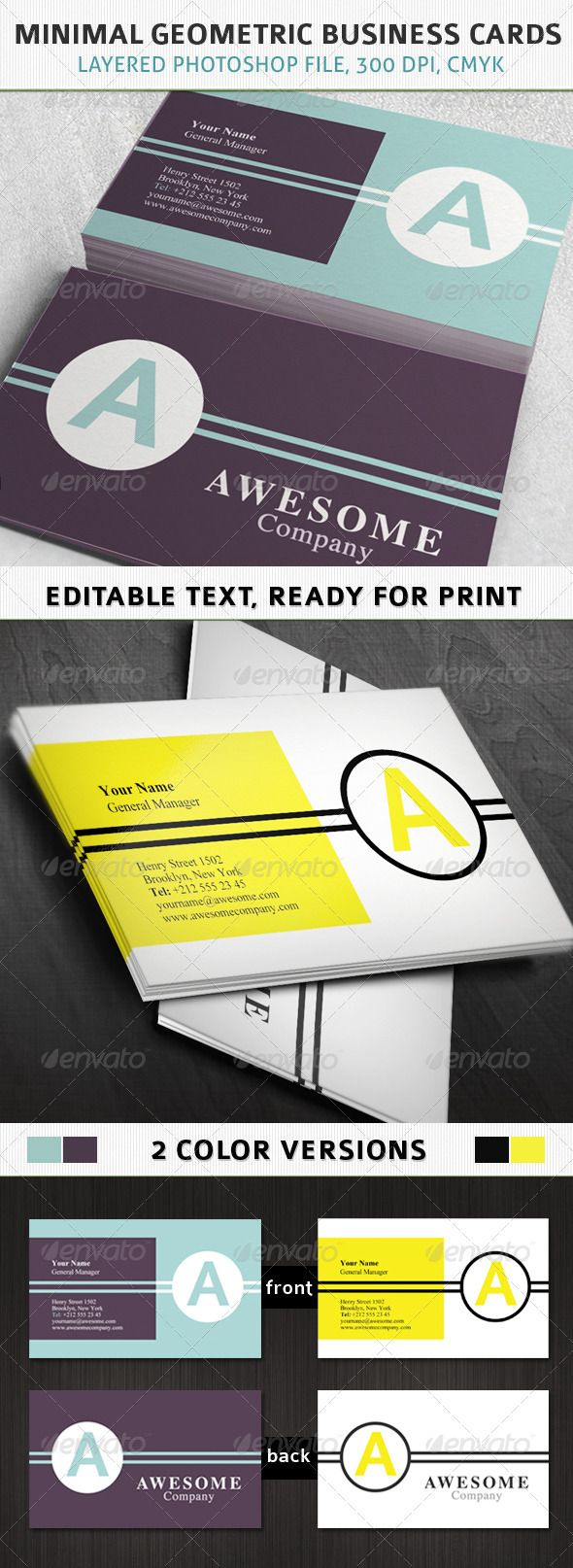 Minimal Geometric Business Cards #graphicriver #template #professional $6