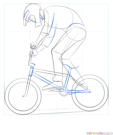 How To Draw A Bmx Biker Step By Step Drawing Tutorials Bike Drawing Bicycle Drawing Simple Bike