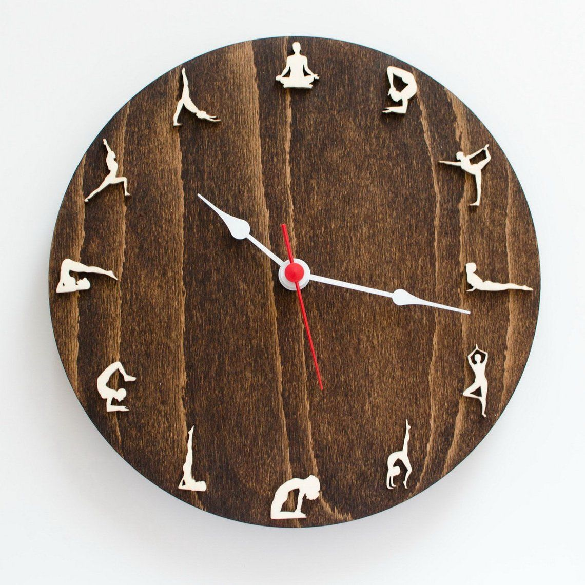 Yoga Valentines Day Gift Wall Clock With Yoga Poses Zen Etsy Wall Clock Clock Wood Wall Clock