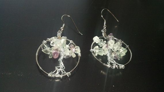 Tree of Life Earrings with Natural Flourite by NatureMadeBeautiful, $14.99