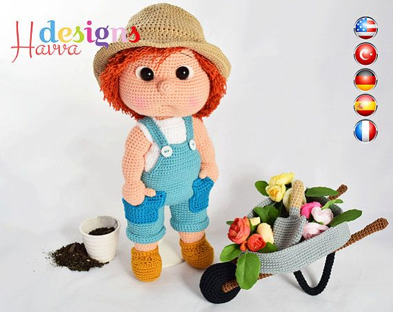 Amigurumi Askina Doll Pattern : Pattern tommy the gardener includes body with clothes and