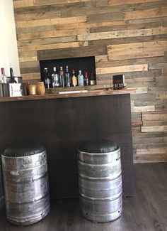 DIY keg bar stools got the stools for free from a neighbor Purchased foam