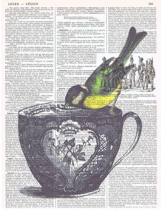 Bird Tea Cup birthday collage Gift Antique