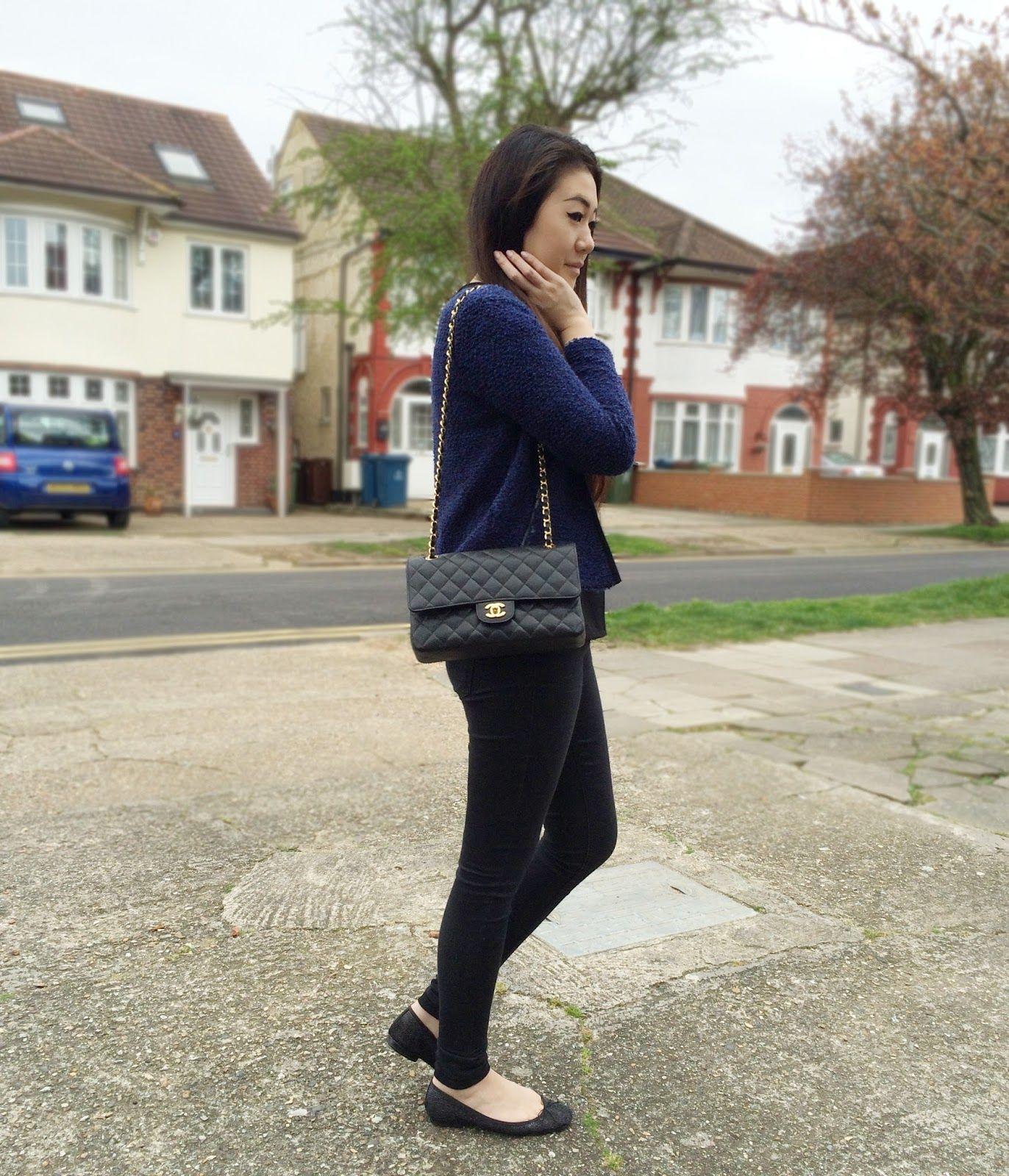 f57f778f ASOS navy blue boucle blazer jacker, Zara black shiny ballerina flats, Zara  sparkly ballerina