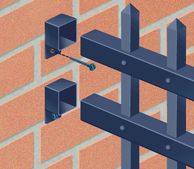 Use A Fixed Bracket And Painted Screws To Attach A Steel Or Aluminum Fence To A Brick Wall Porton Hierro Y Madera Herrajes Para Puertas Construcciones De Metal