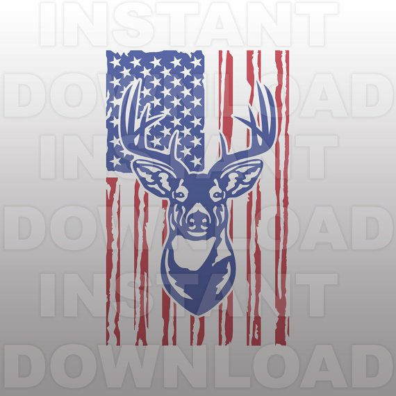 Patriotic Buck Head Deer Hunting Svg File Deer Hunter Svg