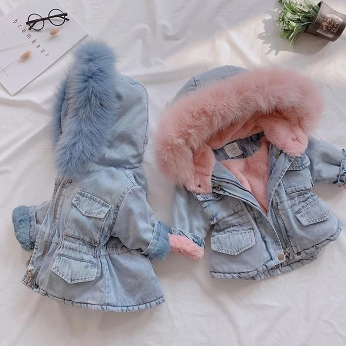 Photo of 2 Colors Winter Stylish Denim Fur Hooded Winter Coat Jacket …