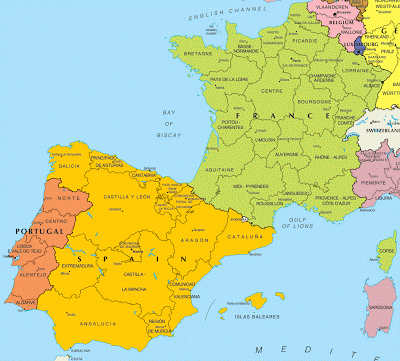 Map Of Portugal Spain France.Map Of Spain And France And Sub Regions Maps Of The World