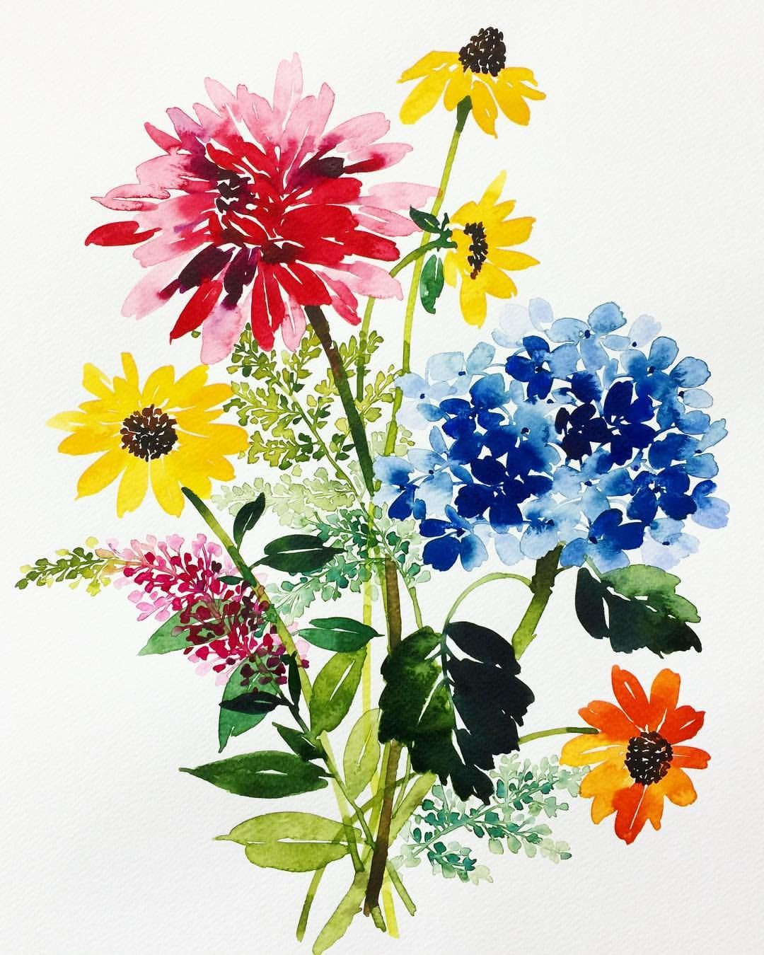 Beautiful Water Color Paintings Of Flowers Stock Image Of