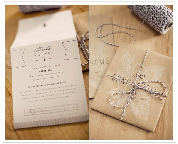 Wedding Invitations Wrapped In Bakers Twine Wedding Invites