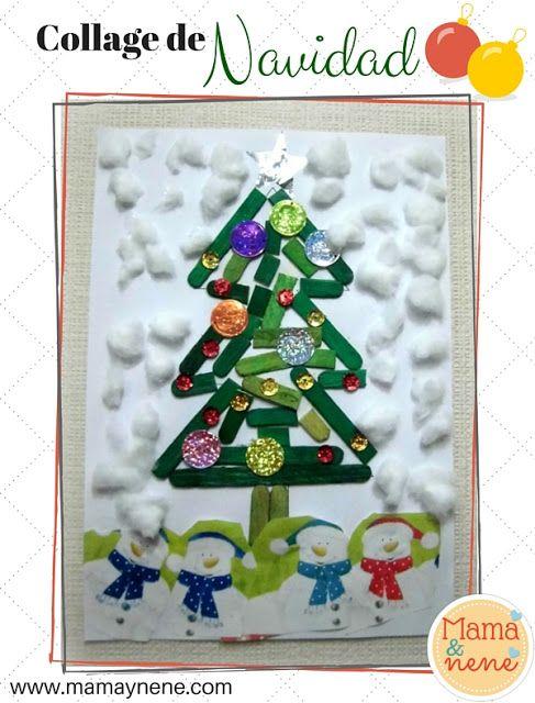 Arbol de navidad collage para preescolar mamaynene for Arbol de navidad manualidades para ninos