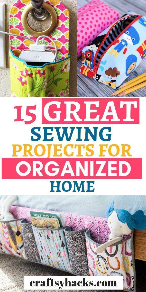 15 projets de couture pour aider à organiser et désencombrer   – DIY Sewing Home Decor ✂️