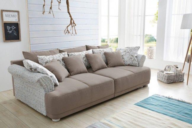 Vintage Big Sofa PROVENCE Landhausstil Mit Rattan Armlehnen, Farbe: Beige