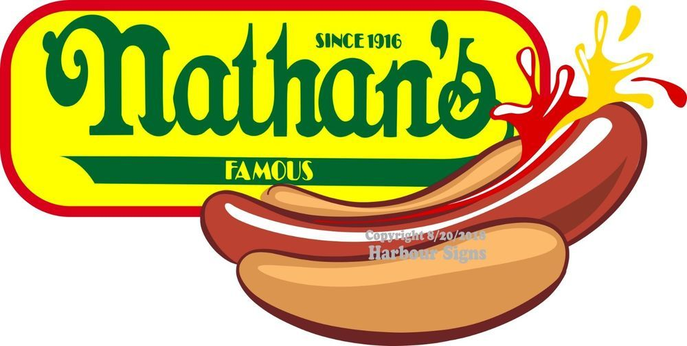 CHOOSE YOUR SIZE Nathan/'s HOT DOGS Dog DECAL Food Truck Concession Sticker
