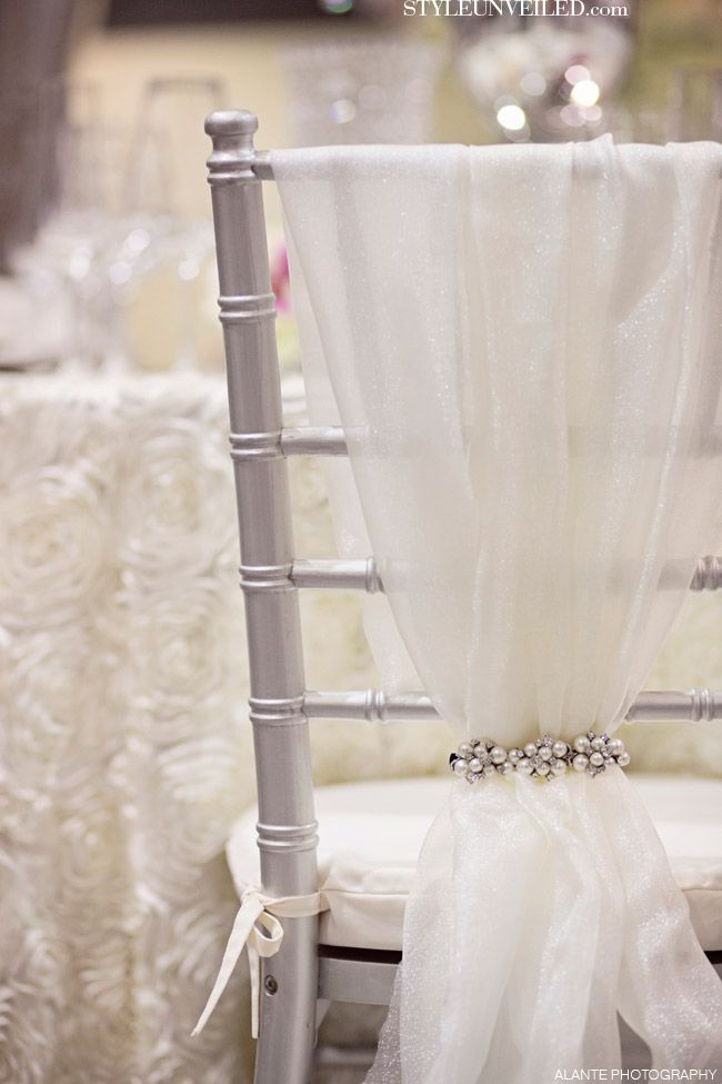 Tulle And Sparkly Hair Barrettes....DIY Chair Backs!